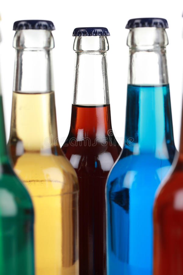 Colorful bottles with soda royalty free stock images