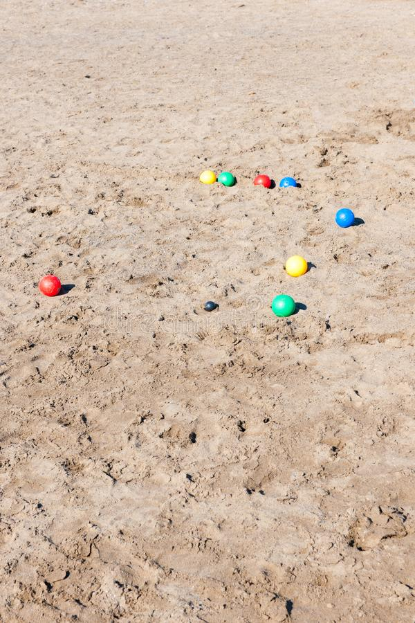 Boule balls in sand at beach in Italy stock photography
