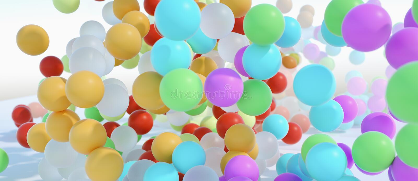 Colorful bouncing balls outdoors against blue sunny sky royalty free stock image