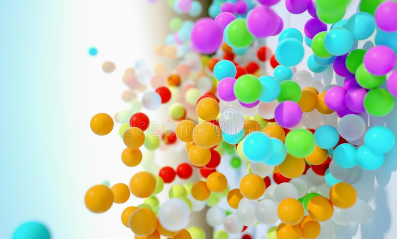 Colorful bouncing balls outdoors against blue sunny sky stock photos