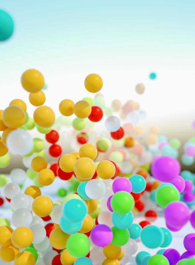 Colorful bouncing balls outdoors against blue sunny sky stock photography