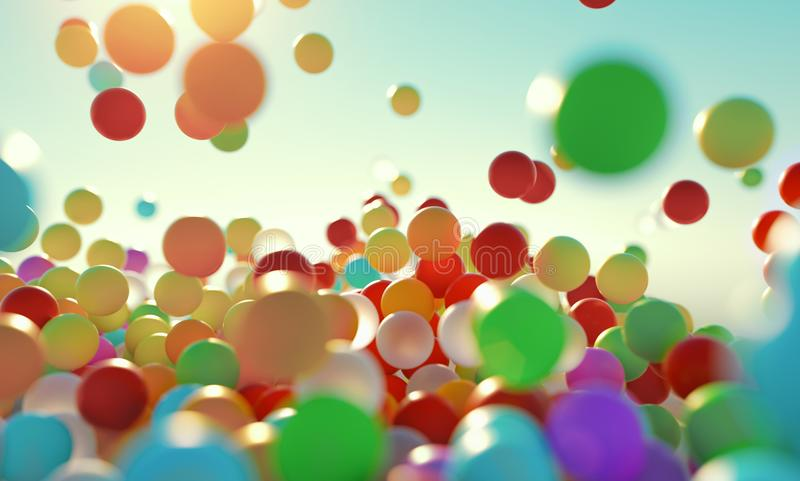 Colorful bouncing balls outdoors against blue sunny sky royalty free stock photos
