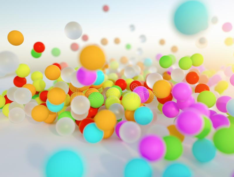 Colorful bouncing balls outdoors against blue sunny sky. Lots of colorful bouncing balls outdoors against blue sunny sky with chaotic motion - perfect party royalty free stock image