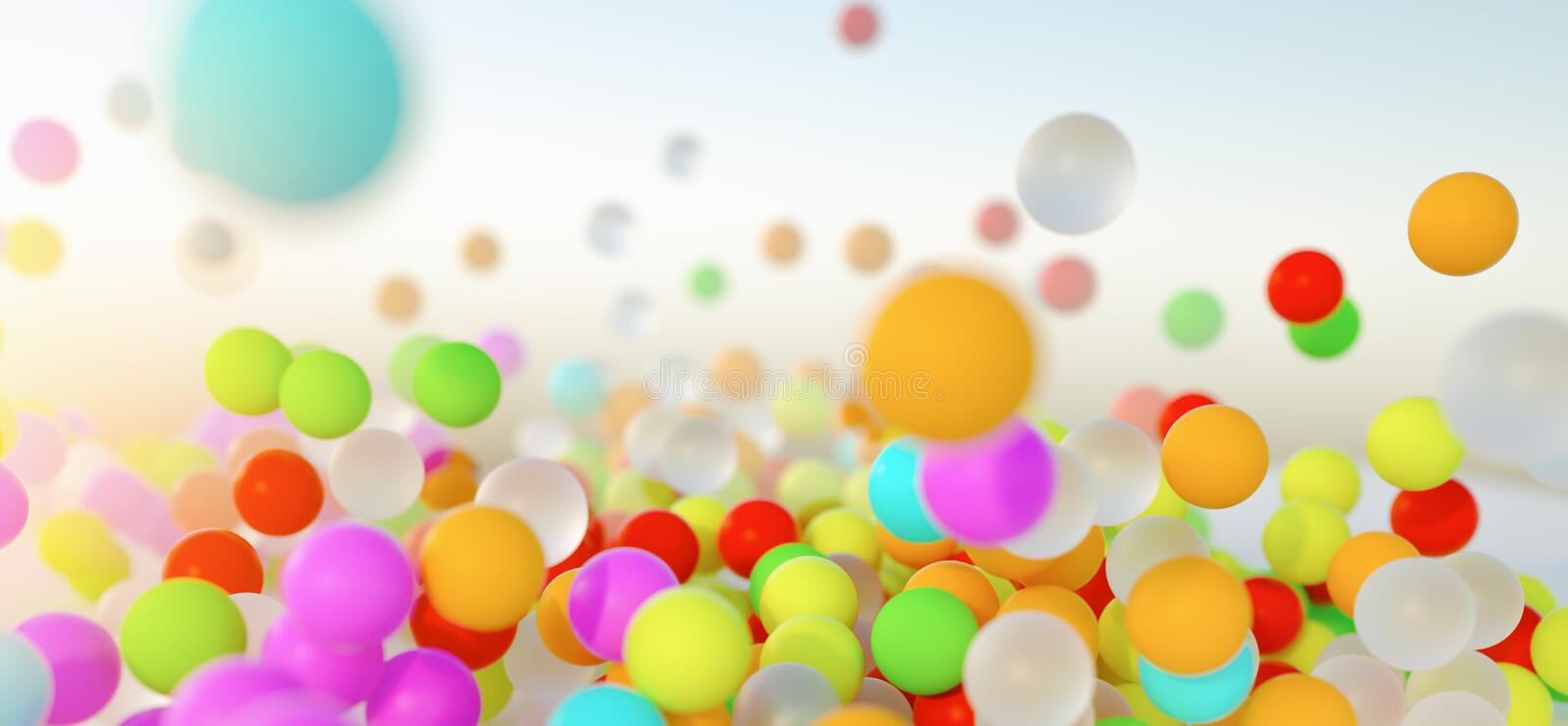Colorful bouncing balls outdoors against blue sunny sky. Lots of colorful bouncing balls outdoors against blue sunny sky with chaotic motion - perfect party stock photography