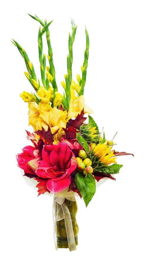 Colorful bouquet of amaryllis, gladioli, sunflowers, fruits. royalty free stock images