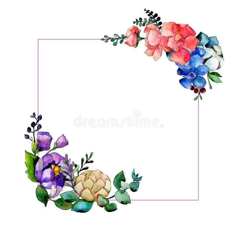 Colorful bouquet. Floral botanical flower. Wild spring leaf wildflower frame. Aquarelle wildflower for background, texture, wrapper pattern, frame or border stock illustration