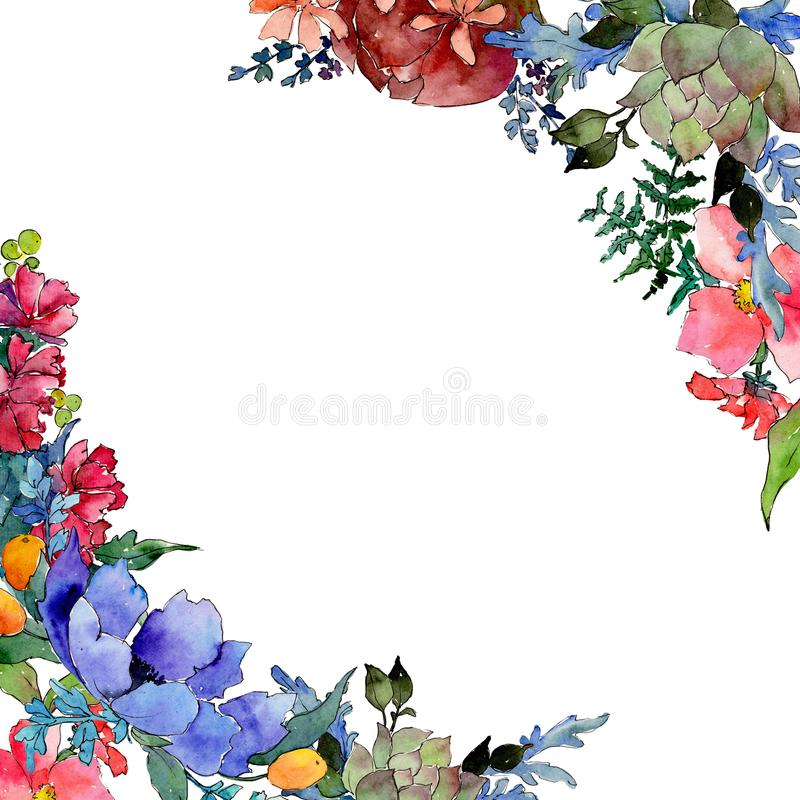 Colorful bouquet. Floral botanical flower. Wild spring leaf wildflower frame. Aquarelle wildflower for background, texture, wrapper pattern, frame or border royalty free illustration