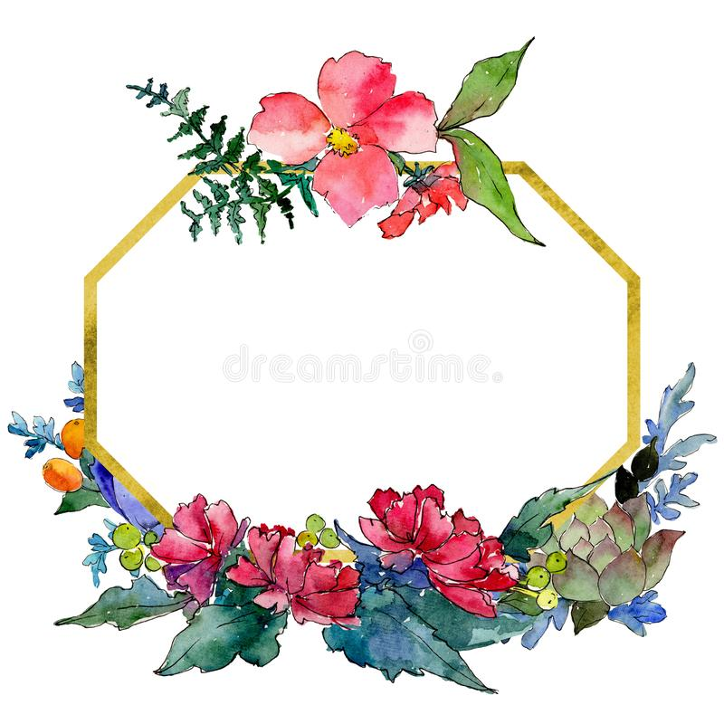 Colorful bouquet. Floral botanical flower. Wild spring leaf wildflower frame. Aquarelle wildflower for background, texture, wrapper pattern, frame or border vector illustration