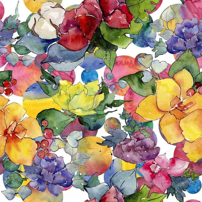 Colorful bouquet. Floral botanical flower. Wild spring leaf wildflower pattern. Aquarelle wildflower for background, texture, wrapper pattern, frame or border vector illustration