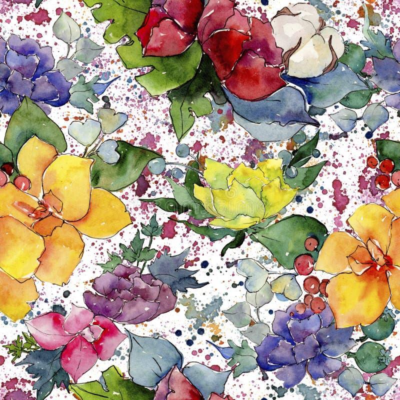 Colorful bouquet. Floral botanical flower. Wild spring leaf wildflower pattern. Aquarelle wildflower for background, texture, wrapper pattern, frame or border royalty free illustration