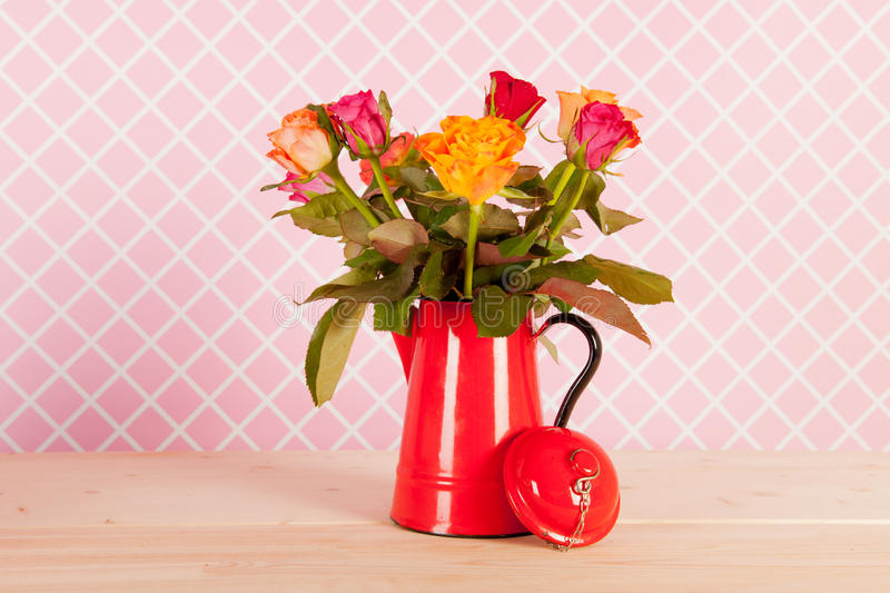 Colorful bouquet roses and presents stock photo