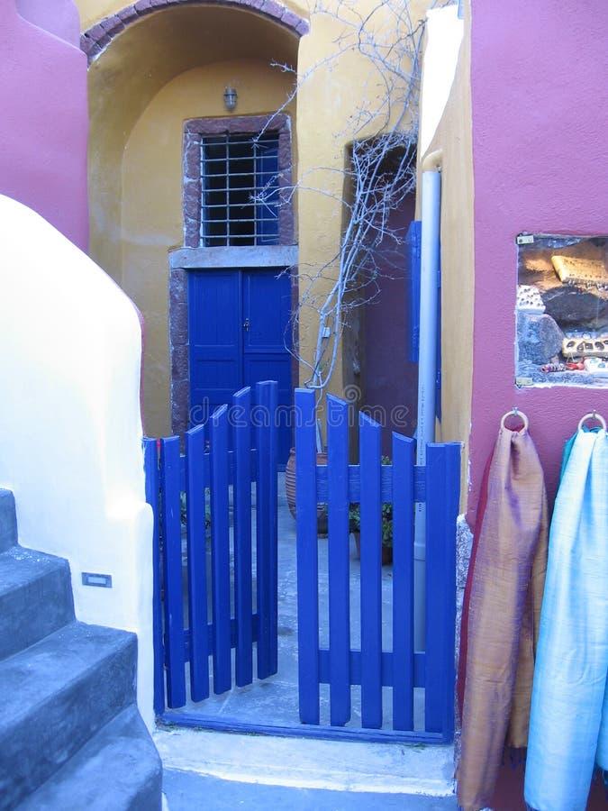 Colorful boutique Oia stock image