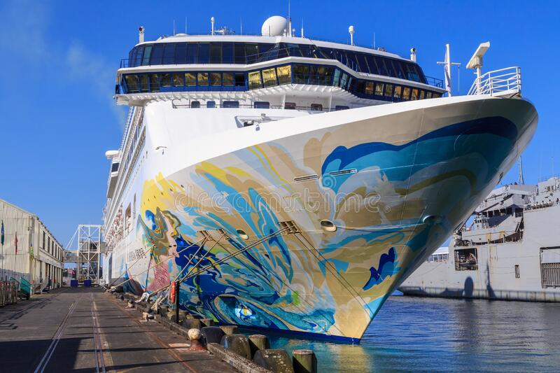 Colorful bow of the cruise liner `Explorer Dream` royalty free stock photography