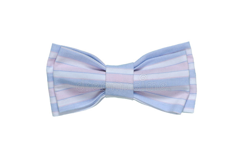 Colorful Bow Tie Isolated On White Background. Handmade. Blue Lines. Colorful Fowers on Handmade Bow Tie stock images