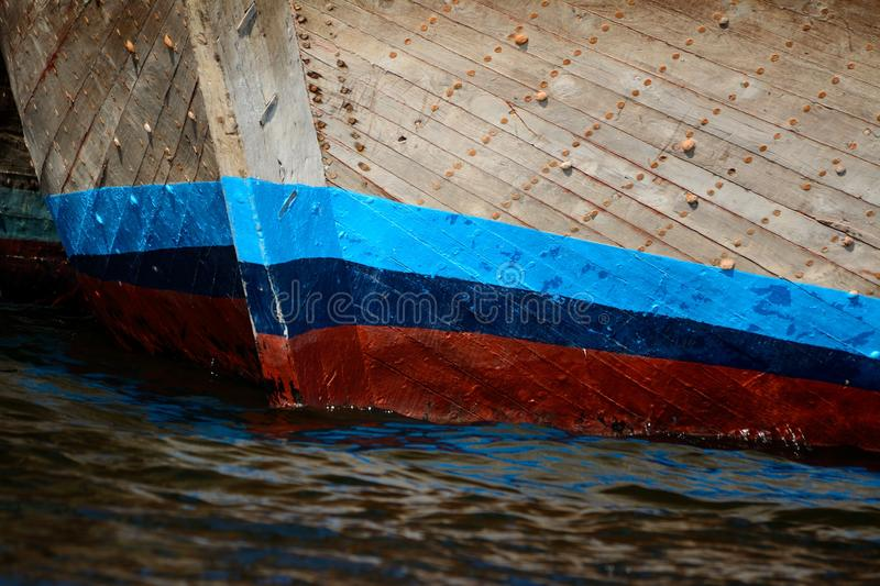 Colorful bow of a wooden boat. Colorful bow of a wooden river boat royalty free stock photography
