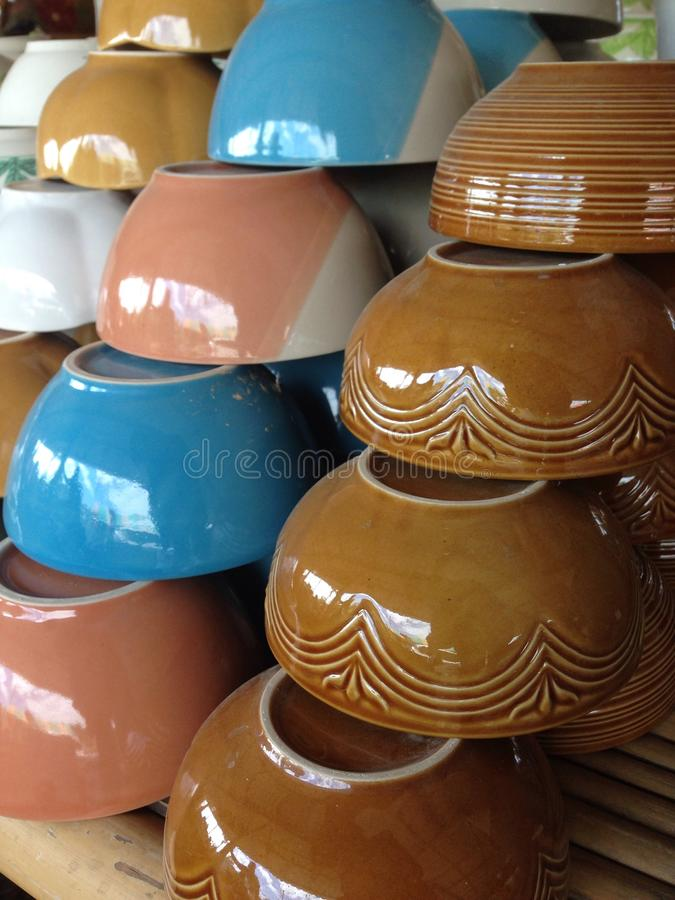 Colorful bowls stock photos