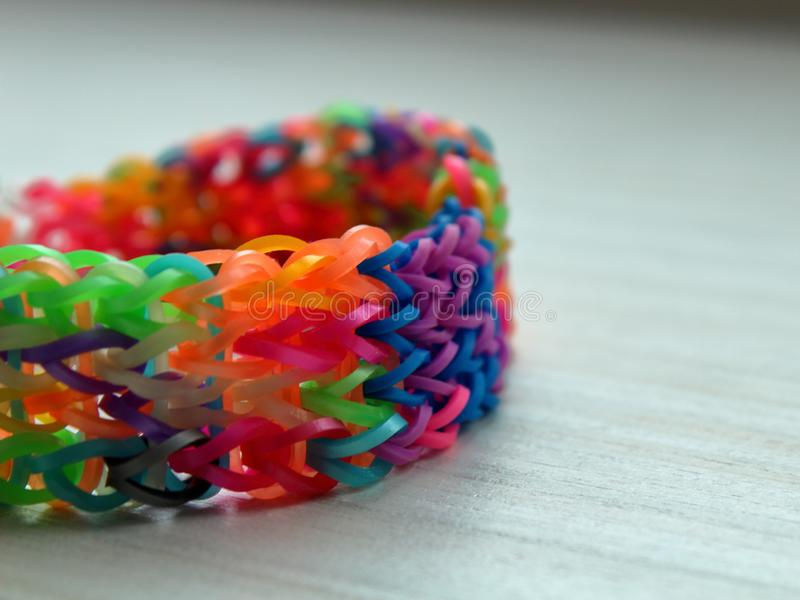 Colorful bracelet made of rubber royalty free stock image