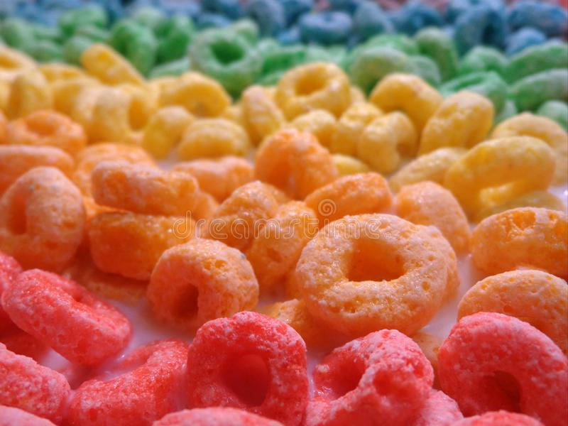 Colorful Breakfast Cereal. Arranged in color spectrum order royalty free stock images
