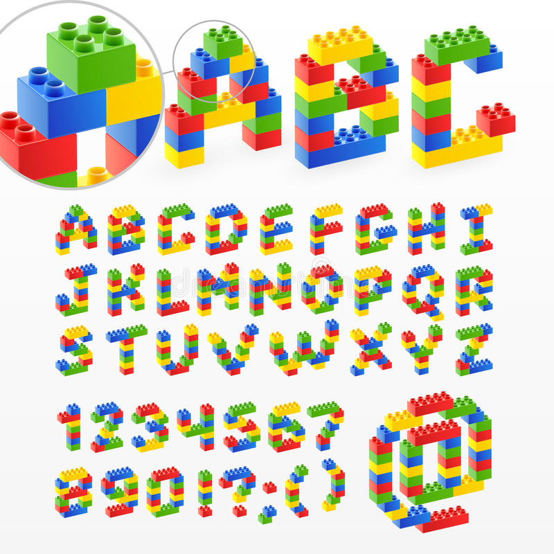 Colorful brick toys font with numbers royalty free stock image