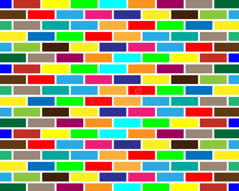 Colorful brick wall background stock illustration
