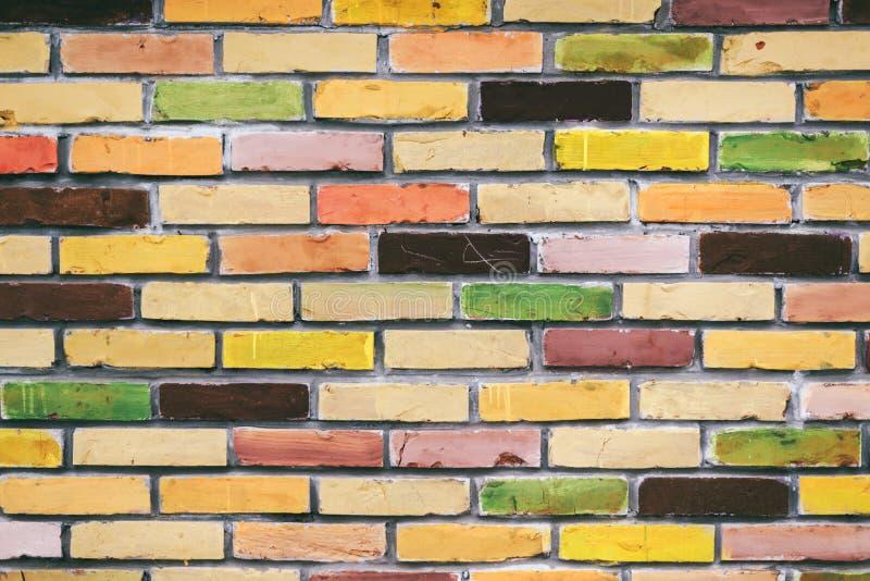 Colorful brick wall pattern stock image