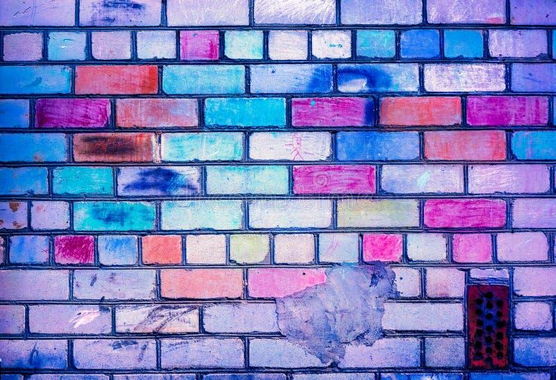 Colorful brick wall pattern, painted bricks as urban texture royalty free stock image