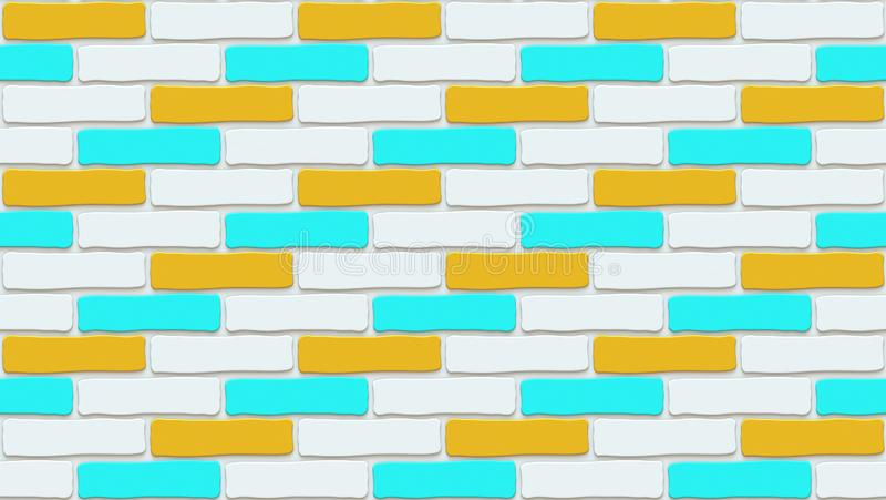 Colorful brick wall texture. Empty background. Vintage stonewall. Room design interior. royalty free illustration