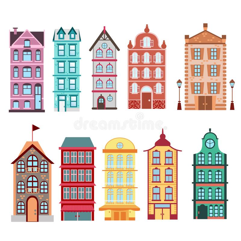 Colorful and bright Amsterdam, dutch city s houses set on white background Vector illustration in flat style. royalty free illustration