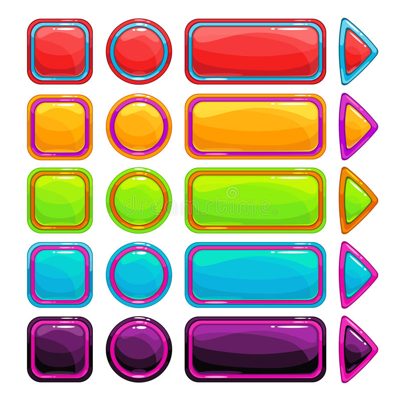 Colorful bright buttons set stock illustration