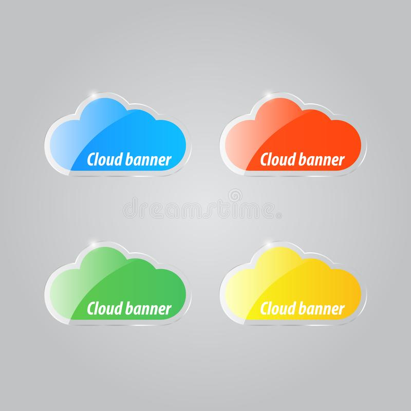 Colorful bright clouds icons on a gray background . Vector illustration royalty free illustration