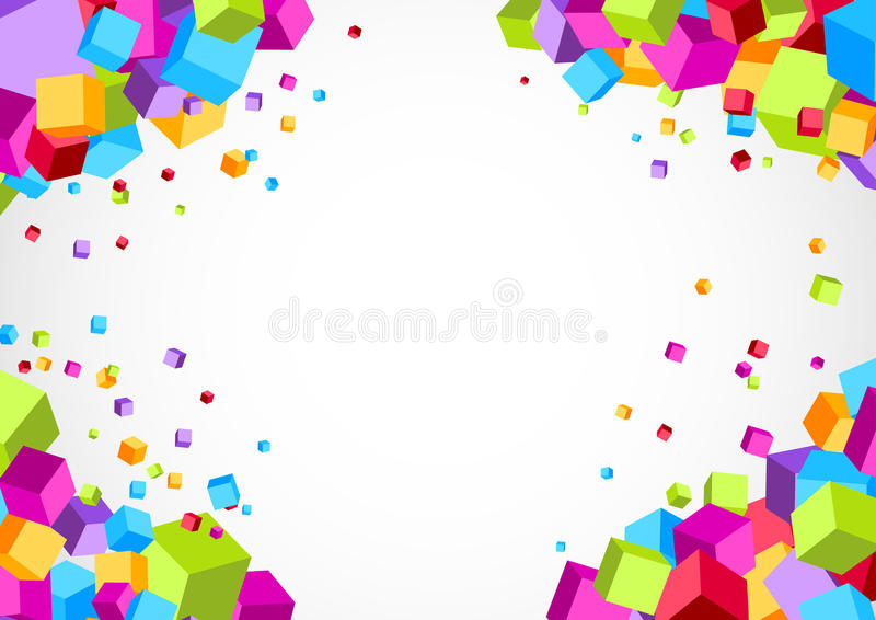Colorful bright cube corner background stock illustration