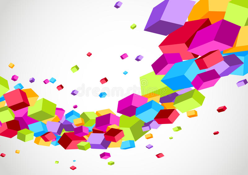 Colorful bright cubes fly wave perspective view. Clip-art royalty free illustration