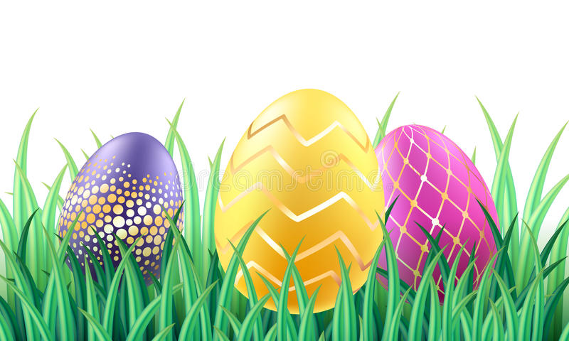 Colorful bright Easter eggs in grass background. stock illustration