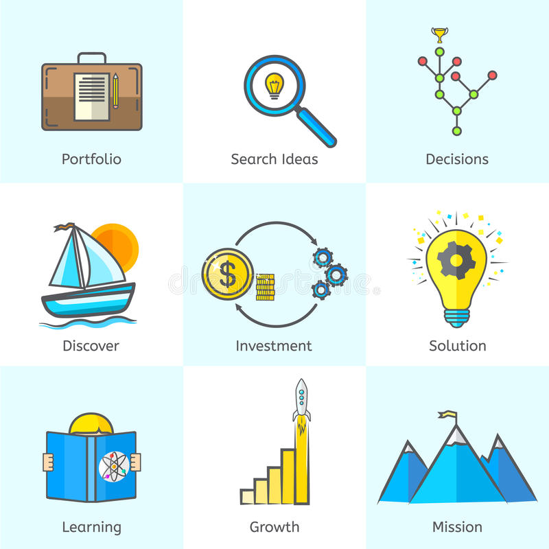 Colorful Bright Flat Line Business Icons Set with vector illustration