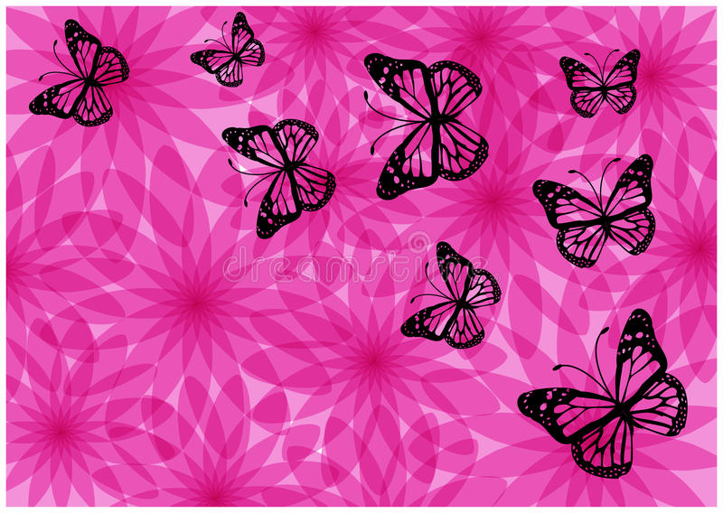 Colorful bright flowers and butterflies silhouettes stock illustration