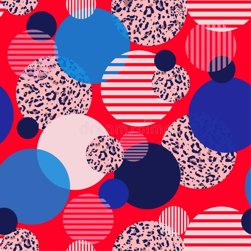 Colorful and bright geometric fill-in with round animal leopard prints and polka dots stripe seamless pattern design for. Fashion ,fabric ,wallpaper,web and all stock illustration