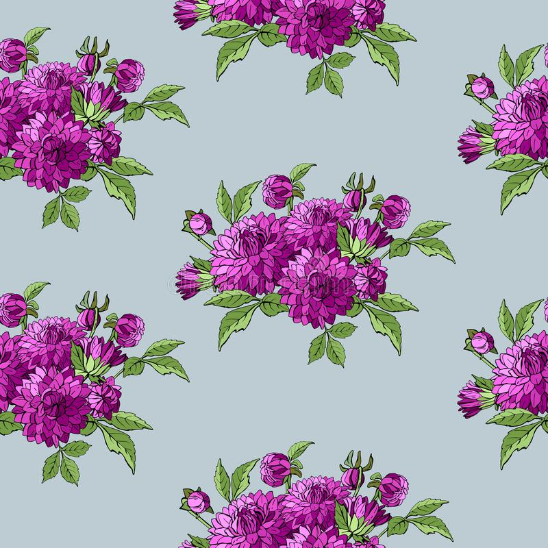 Colorful bright hand drawn seamless pattern with bouquets dahlias garden flowers on a blue background. vector stock illustration