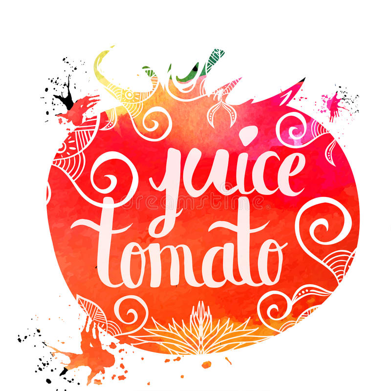 Colorful bright hand lettering poster vegetables tomato juice isolated on a white background. Vector stock illustration