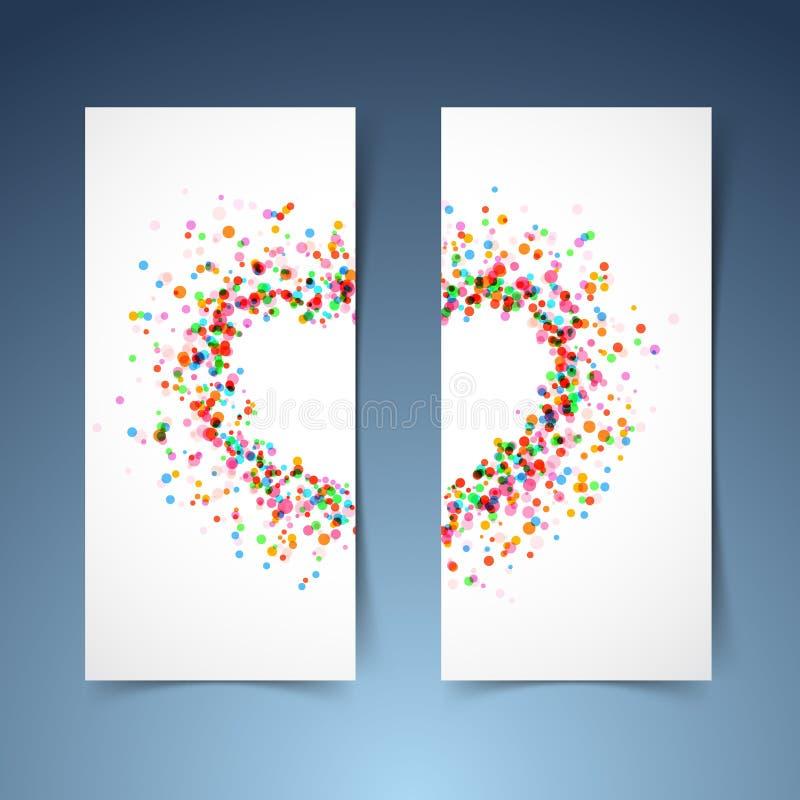 Colorful bright heart symbol headers set royalty free illustration