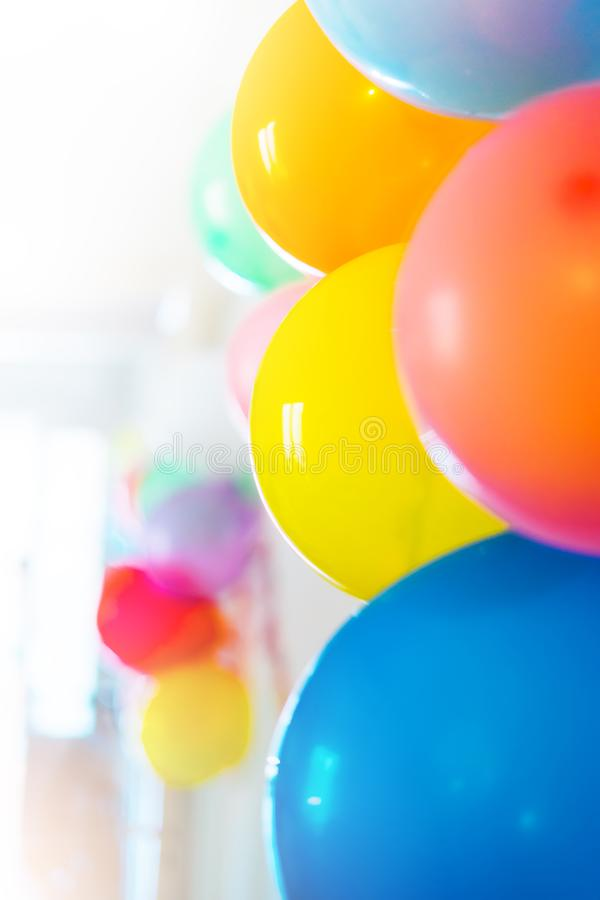 Colorful bright holiday balloons close-up, background for text, happy birthday party concept, celebration decoration royalty free stock photos
