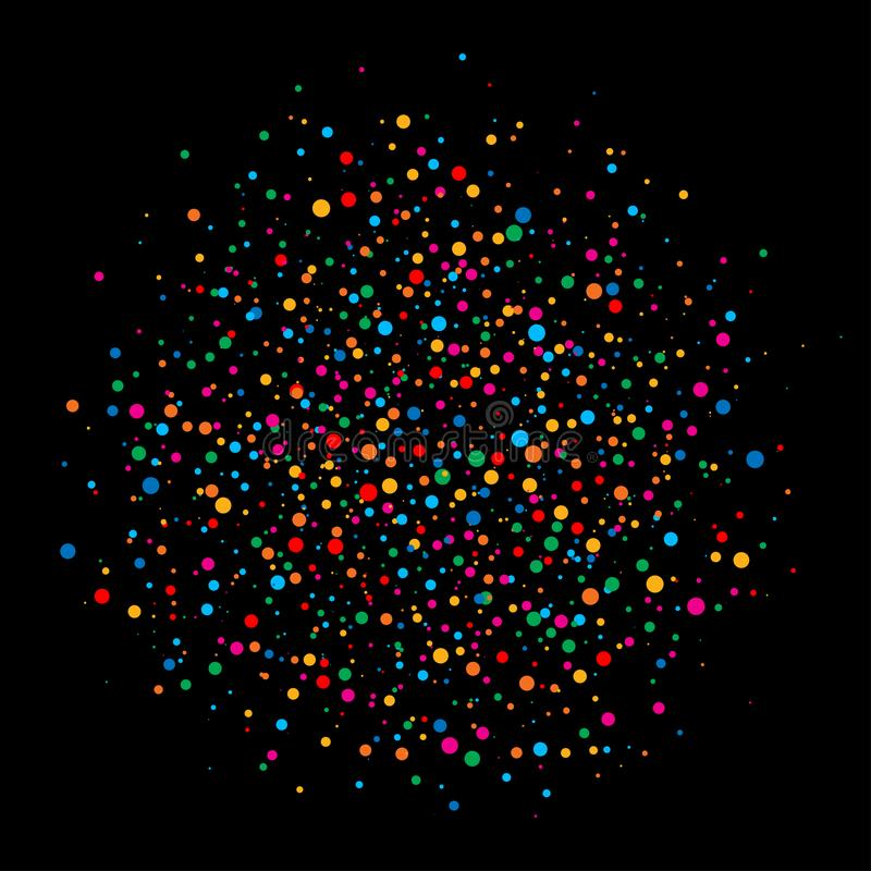 Colorful bright rainbow colors circle confetti rounds paper isolated on black background. vector illustration