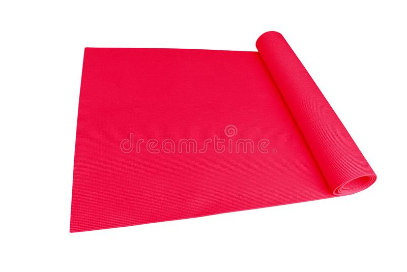 Colorful bright red yoga mat sport isolated on white background with clipping path stock images