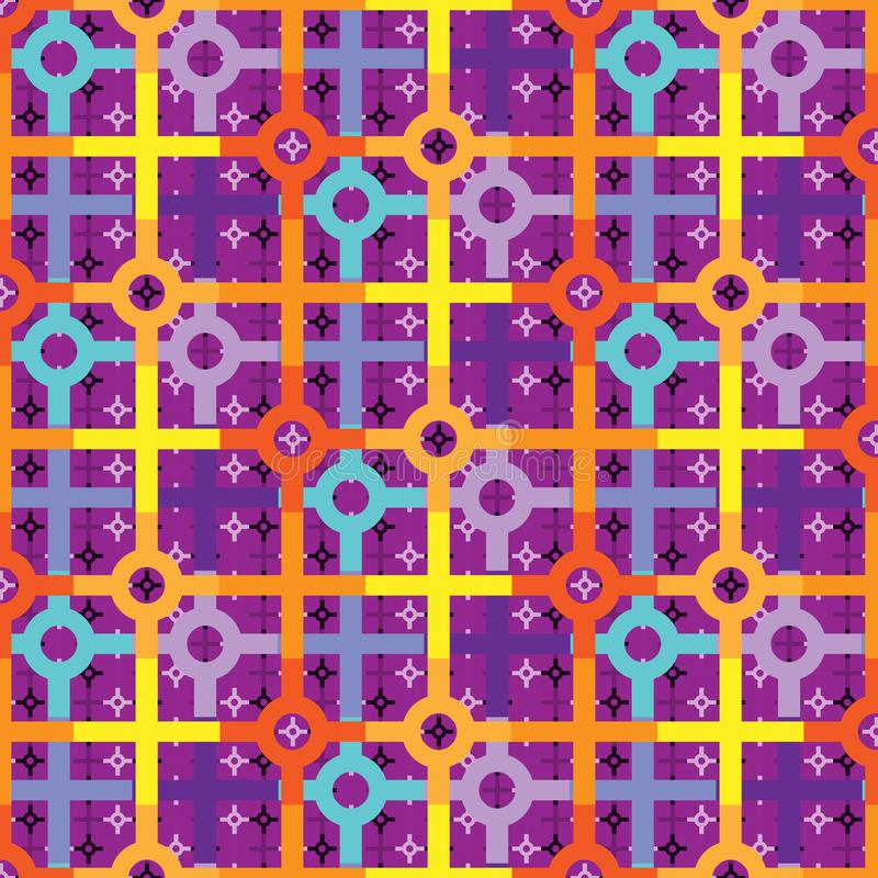 Colorful bright repeating pattern of circles and squares stock illustration
