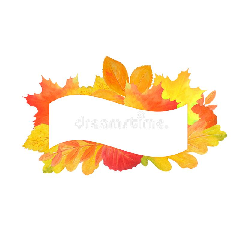 Presentation  signboard on white background. Colorful bright  signboard with autumn leaves. Hand drawn illustration.  Watercolor template for your text vector illustration