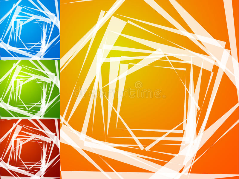 Colorful bright spirally background. Spiral, vortex background s. Et with geometric elements. Background set in 4 bright, vivid colors. - Royalty free vector royalty free illustration