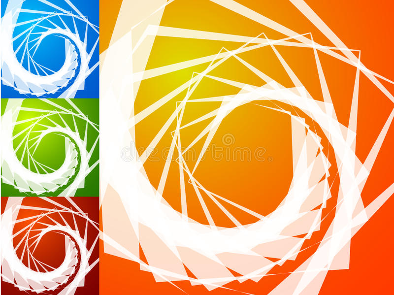 Colorful bright spirally background. Spiral, vortex background s. Et with geometric elements. Background set in 4 bright, vivid colors. - Royalty free vector stock illustration