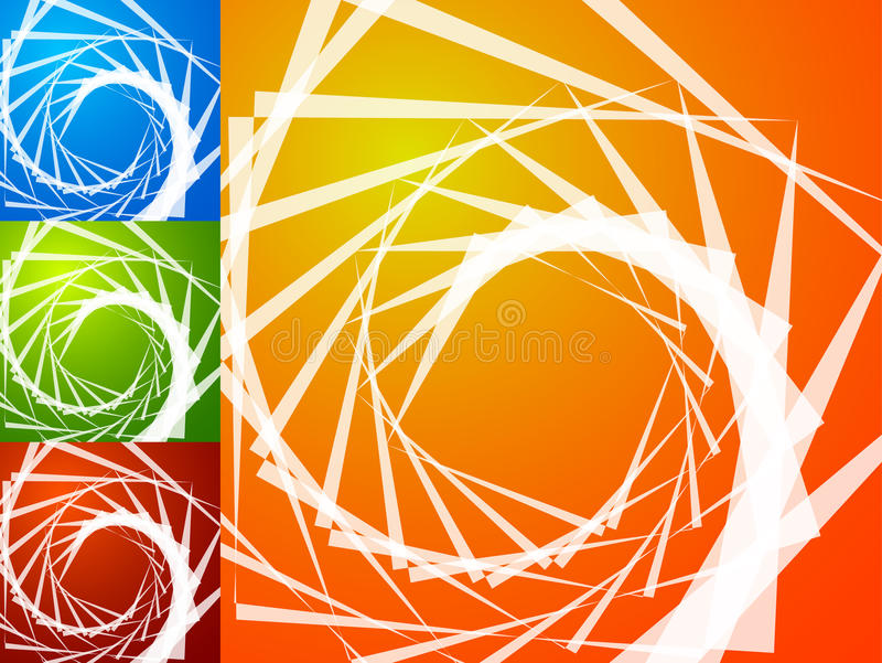 Colorful bright spirally background. Spiral, vortex background s. Et with geometric elements. Background set in 4 bright, vivid colors. - Royalty free vector vector illustration