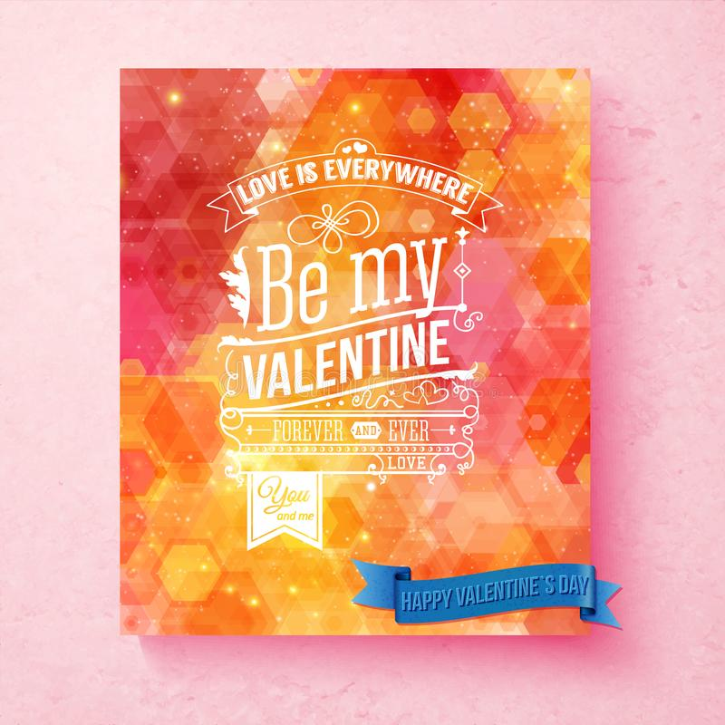 Colorful, bright Valentines day card with pattern and sparkling light effects. Textured background. Typographic text, various ornaments. Vector illustration stock illustration
