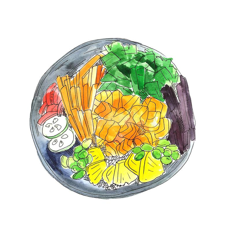 Colorful bright watercolor poke bowl with red salmon, caviar and other food pieces. Watercolor food illustration isolated on white stock illustration