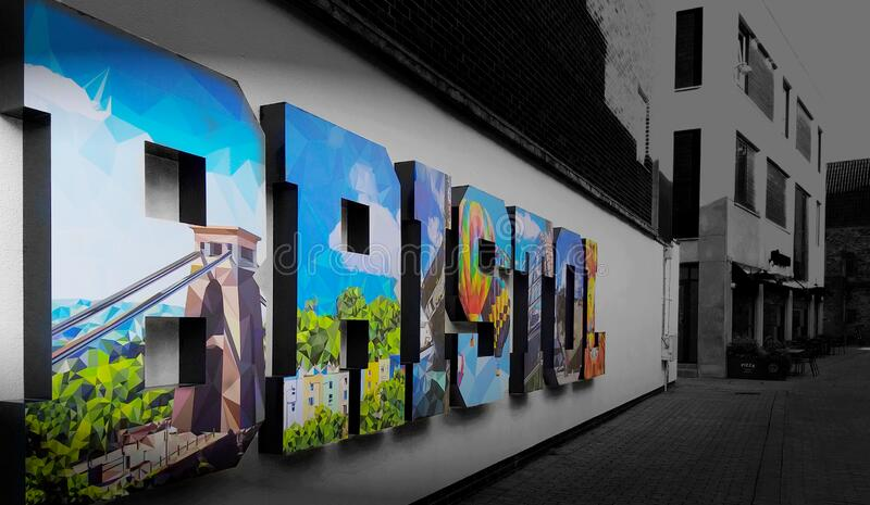 Colorful Bristol within a black and white surrounding. United Kingdom / UK. Enjoy the atmosphere royalty free stock images